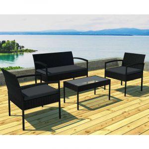 Table basse jardin resine tressee noire - Comparer 137 offres
