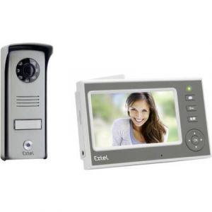 Extel Portier Vidéo mains libres sans fil Portée 300m Moniteur Blanc 11 cm Nomade batterie Platine saillie alu MINI 720290