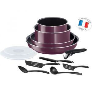Tefal Ingenio Essential Violet Byzantium Batterie de cuisine 12 Pièces Tous Feux Sauf Induction L2019702