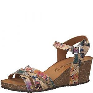 Tamaris 1-1-28342-22 Femme Sandales compensées,Sandales,Sandales compensées,Chaussures d'été,Confortable,Plat,Beige Comb,39 EU