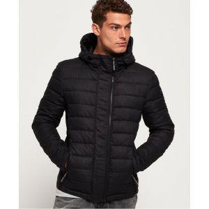 Superdry Manteaux et parkas Fuji Hooded Double Zip Tweed - Black - XXXL