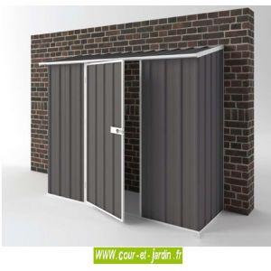 EasyShed Compact 1,7 m² - Abri de jardin adossable en métal (de 225 cm x 75 cm)
