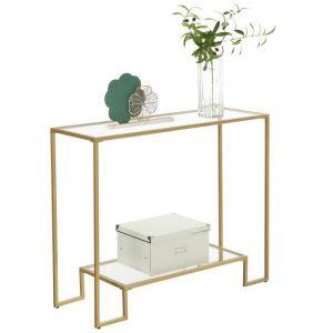 Songmics VASAGLE Table console, Table d'entrée, 2 étagères en verre trempé, cadre en acier, 100 x 35 x 80 cm, Doré LGT023A01