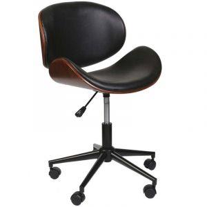 The home deco factory Chaise de bureau bois et simili cuir à roulettes Reno