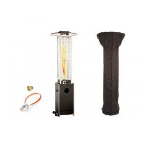 Empasa Parasol Chauffant au Gaz OPTICAL PRO - Vraie flamme - Inclus détendeur Noir Housse noire