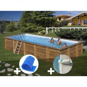 Sunbay Kit piscine bois Braga 8,00 x 4,00 x 1,46 m + Bâche à bulles + Alarme