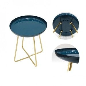 The home deco factory Table d'appoint plateau rond glossy - Bleu - L 40 x P 40 x H 48,5 cm