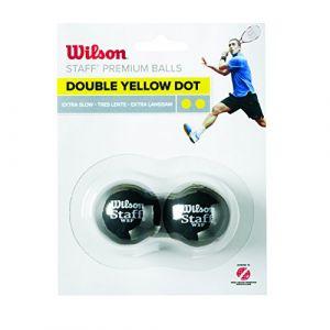 Wilson Balle de squash Intérieur, Compétitons, 2 Balles, Staff Squash, Double point jaune, Noir, WRT617600