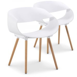 Declikdeco Lot de 2 chaises design blanches LUVIA