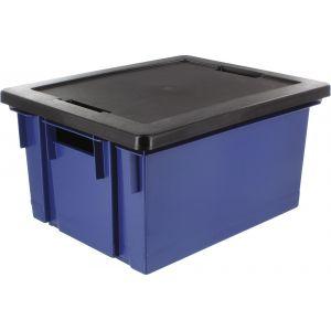 Eda Plastiques Bac de rangement avec couvercle en plastique - 10 L - bleu minéral et noir - Bac de rangement, Fourre-tout - EDA