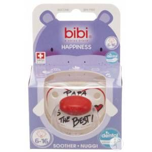 Bibi Sucette Happiness Papa is the best en silicine dental 6-16 mois