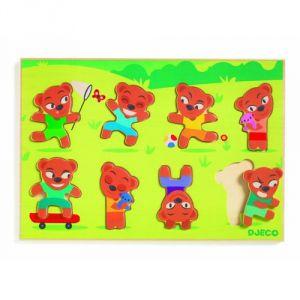 Djeco Encastrement 8 pièces en bois : Puzzle Teddymatch