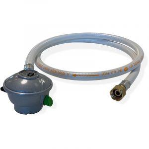 Alice's Garden Kit Tuyau flexible de gaz 1,5 m à embouts mécaniques + Détendeur Quick-on Butane 28mbar 1,3kg/h, raccord rapide %u2013 Normes NF