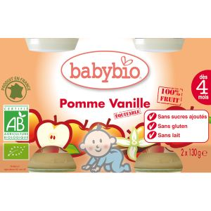 BabyBio Petit Pot Fruit : Pomme Vanille 2 x 130g - 4 mois