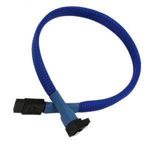nanoxia 900200031- Câble SATA III Plat 0,45 cm Gaine Bleue Angle Droit