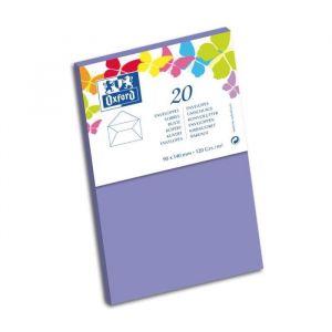 Oxford 20 Enveloppes gommée - 14 cm x 9 cm x 1,5 cm - 120g - Violet
