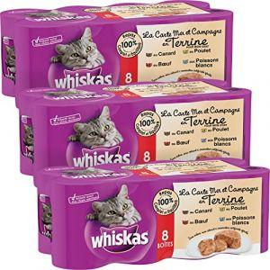 Whiskas La Carte Mer et Campagne en Terrine pour chat 8 x 400 g