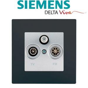 Siemens Prise TV FM SAT Silver Delta Viva + Plaque Anthracite