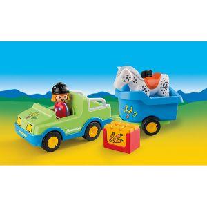 Playmobil 6958 - 1.2.3. Voiture avec remorque à cheval
