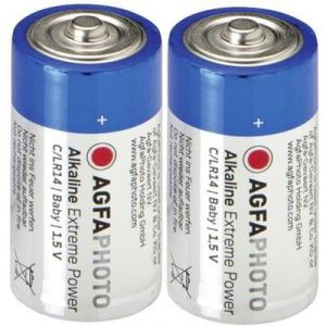 AgfaPhoto 2 piles alcalines C LR14 1,5V