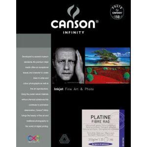 Canson 206211036 - Boîte 25 feuilles Infinity Platine Fibre Rag A4 310g/m², brillant ultra-blanc