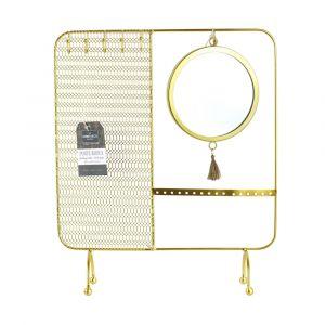 Declikdeco Porte bijoux avec miroir filaire - 35.5 x 30 cm - doré