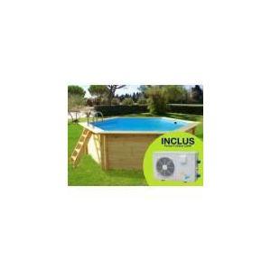 VIVA POOL Hawaï - Piscine ronde hors sol en bois Ø 410 x 118 cm + pompe à chaleur 3.5 kW