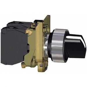 Schneider Electric XB4BD21 Harmony bouton tournant noir, à manette, 2 positions, métal plaqué chrome collerette, 1F, 22 mm diamètre de fixation