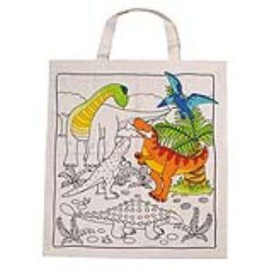 Goki 58809 - Sac en coton Dinosaures à colorier