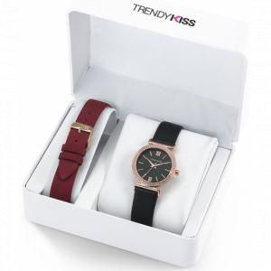 Trendy Kiss Coffret CTK-12 - Montre Cuir Noir Boîtier Doré Rose Lunette Sertie + Bracelet Cuir Rouge Femme