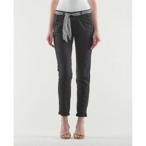 Le Temps des Cerises Pantalon chino avec ceinture tissu imprimé Noir - Taille 24(34);25(34/36);26(36);27(36/38);28(38);29(38/40);30(40);31(40/42)