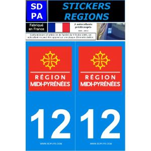"""SDPA SR12 - 2 autocollants pour plaque d'immatriculation """"Département 12 - Région Midi-Pyrénées"""""""