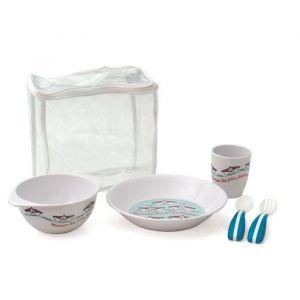 Plastorex Lot sous valisette vaisselle en mélamine Les P'tits Bateaux + couverts ergonomiques bicolores
