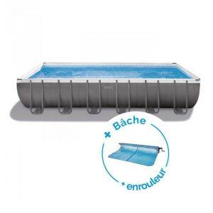 Intex Pack Piscine tubulaire Ultra Silver 9.75 x 4.88 x 1.32 m + Bâche + Enrouleur