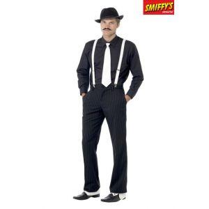 Smiffy's 23083 Déguisement Homme Kit du Gangster, Noir/Blanc, Taille Unique