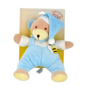Soft Friends Doudou musical Ourson bleu