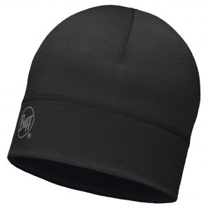 Buff Couvre-chef -- Merino Wool 1 Layer Hat - Solid Black - Taille One Size