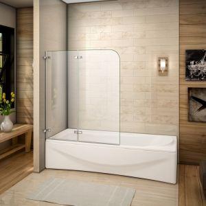 AICA Sanitaire 100x140cm Pare baignoire pivotant et repliable 180°, 5mm verre de sécurité