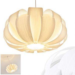 Hofstein Suspension Zobus en plastique, aspect bois - luminaire suspendu rond pour salle à manger - chambre à coucher - salon - douille E27 max. 60 Watt
