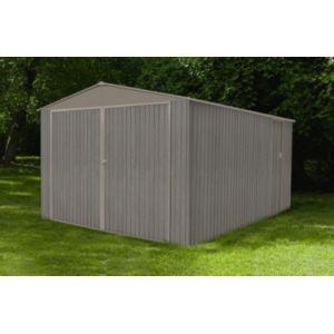 Chalet et Jardin CHALET & JARDIN Garage en métal imitation bois vieilli - 12,5x15,7m - Au design moderne avec son aspect en bois vieilli - Dimensions : 12,5x15,7m.