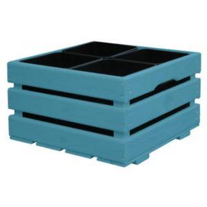Jardinière pour 4 pots - 43 x 43 x 26 cm - Bleu - Jardinière - En bois Pin massif - Peinture lasure bleue - Dimensions : 43 x 23 x 26 cm