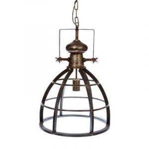 Grande suspension lustre en métal effet vieilli Style Industriel Coloris GRIS CUIVRE