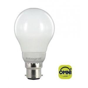 Integral LED ILA60B22O4.6N03KHEWA Ampoule LED B22 Omni Directionnel 4,6 W 3000 K 470 lm Forme de Globe Aluminium/Plastic/Verre/Laiton Nickelé Blanc 10,5 x 6 cm