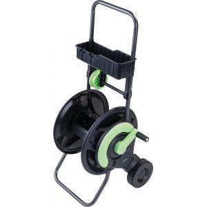 Cap Vert Dévidoir de tuyau d'arrosage avec guide et clayette - Vendu sans tuyau - Noir et vert
