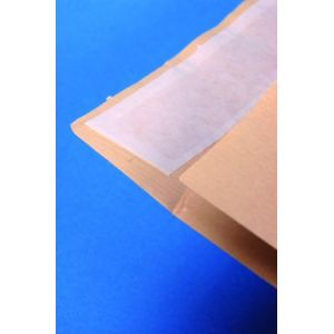 Clairefontaine 174505C - Paquet filmé de 5 pochettes à soufflet Adhéclair kraft Mille Raies, adhésive avec bande, 120 g/m², 229x324x30