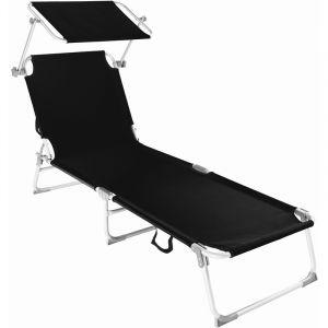 TecTake Chaise longue, Transat, Bain de soleil, Pare Soleil, Pliable Aluminium 190 cm Noir