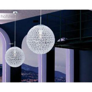 Globo Lustre suspension boule luminaire plafond métal chrome acrylique salle de séjour