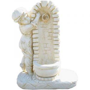 Deco granit Fontaine avec enfant en pierre reconstituée