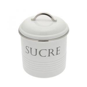 Frandis Boîte a sucre ronde en inox - 13 x 16,5 cm - Blanc - Inox - Ronde - Blanc - Métal - Ø 13 x 16,5 cm - Poids : 0,50 kg