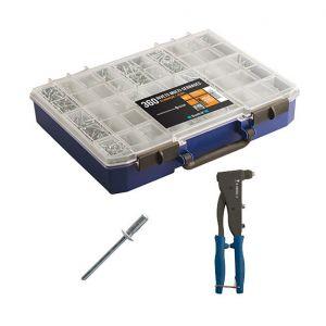 Scell-it COF500  - Coffret de 360 rivets multi-serrages avec pince à riveter professionnelle
